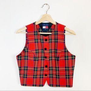 VINTAGE TOMMY HILFIGER Plaid Tartan Vest 100% Wool